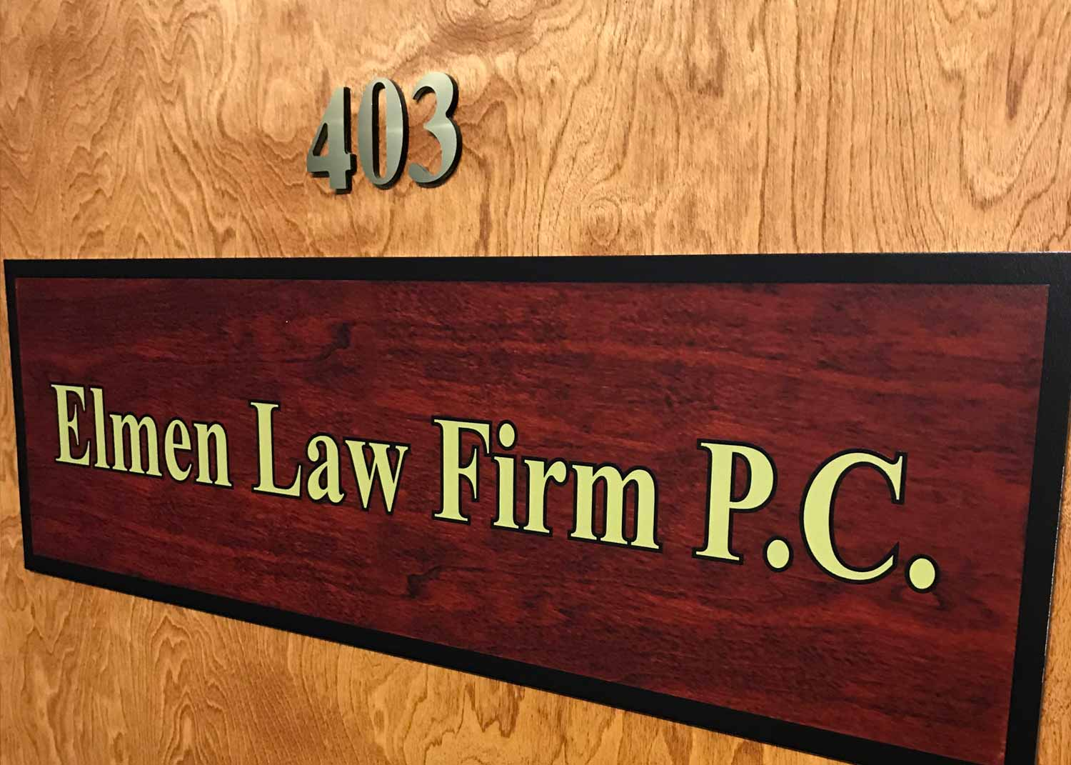 Door sign for Elmen Law Firm P.C.